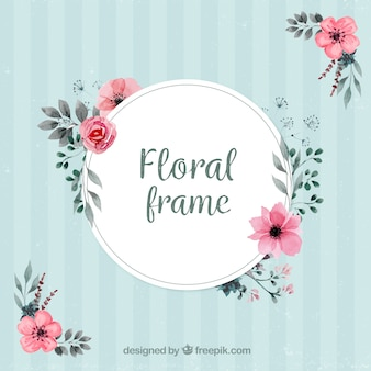 Marco vintage con decoración floral