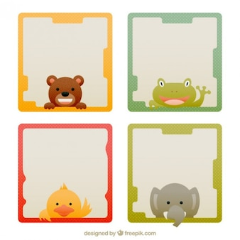 Marcos de colores de adorables animales