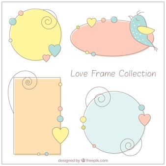 Marcos decorativos de amor dibujados a mano