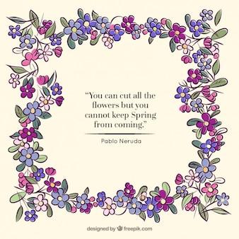 Marcos florales y cita inspiradora