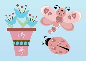 mariposa flores vector