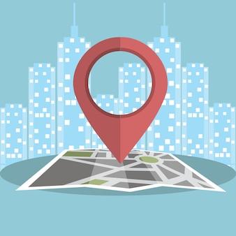 Marketing móvil con el concepto de mapa de ilustración de concepto de uso de teléfonos inteligentes móviles para encontrar centro comercial, eventos y ofertas. mapa con el símbolo rojo del perno.