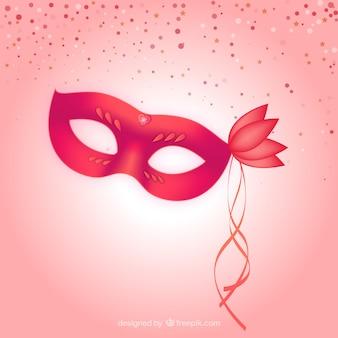 Máscara de carnaval roja con un corazón brillante