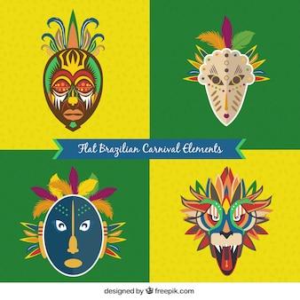 Máscaras abstractas de carnaval brasileño