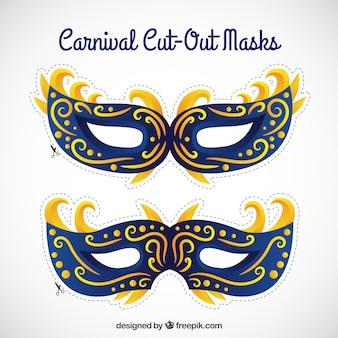 Máscaras recortables azules de carnaval
