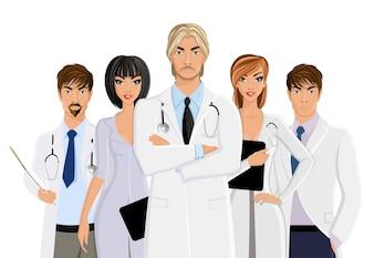 Médico con el personal médico