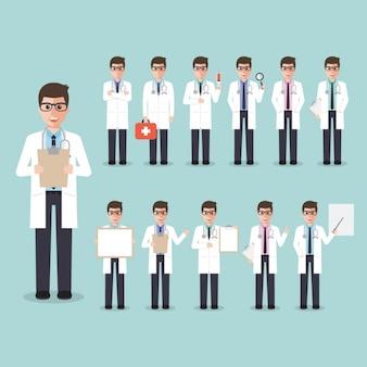 Médico en diferentes posiciones