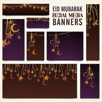 Medios de comunicación social banners conjunto decorado con colgando de lunas de media luna y las estrellas para el famoso Festival Islámico, celebración de Eid Mubarak