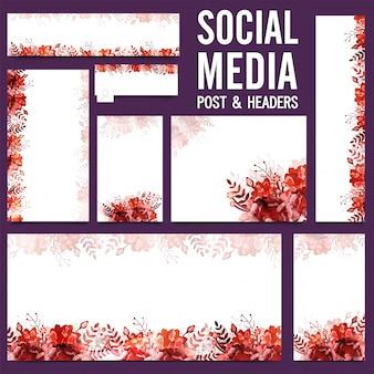 Medios de comunicación social post y cabeceras con flores.