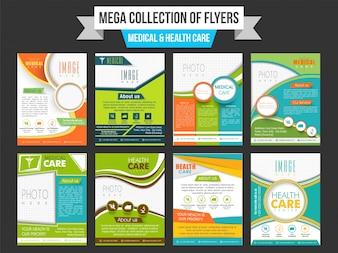 Mega colección de folletos médicos y de atención médica con espacio para agregar su imagen