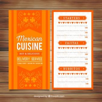Menú mexicano naranja decorativo