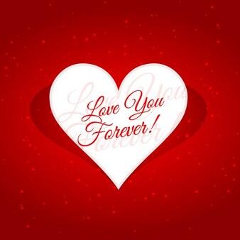 Mensaje de te amaré por siempre en un corazón