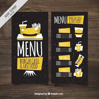 Menú amarillo de hamburguesería vintage