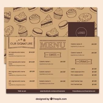 Menú de cafetería de dulces dibujados a mano