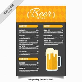 Menú de cerveza en tonos amarillos y negros