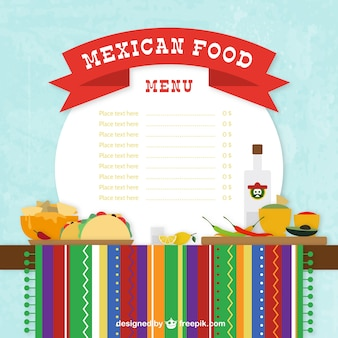 Menú de comida mexicana