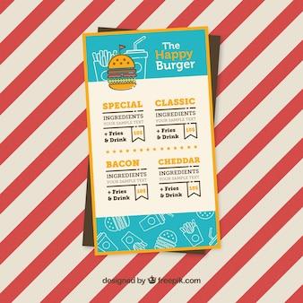 Menú de comida rápida con variedad de hamburguesas