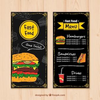 Menú de comida rápida dibujado a mano