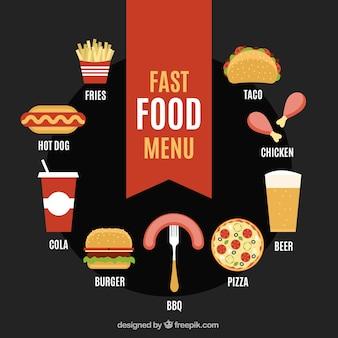 Menú de comida rápida en estilo plano