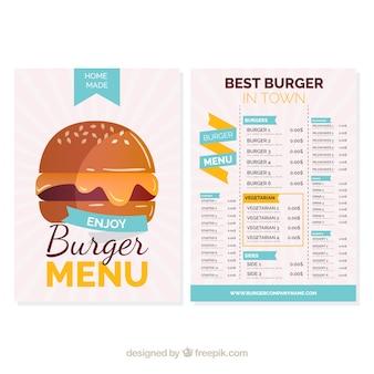 Menú de hamburguesa con elementos azules