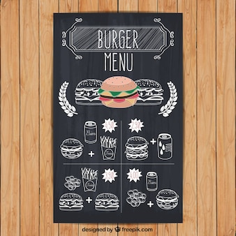 Menú de hamburguesa en estilo dibujado a mano