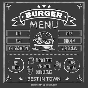 Menú de hamburguesa en pizarra