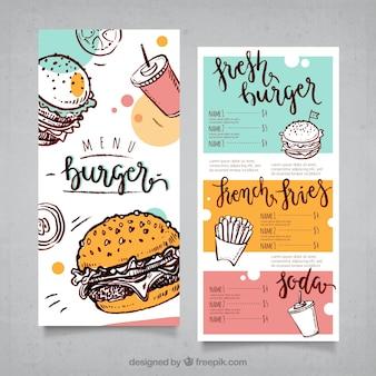Menú de hamburguesas dibujado a mano