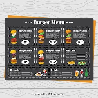 Menú de hamburguesería con diseño en negro