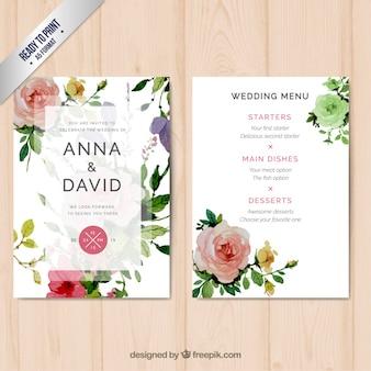 Menú de la boda con las flores de la acuarela
