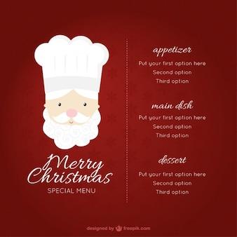 Menú de navidad con ilustración de chef