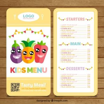 Menú de niños con simpáticas verduras y frutas