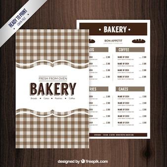 Menú de panadería vintage con mantel dibujado