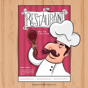 Menú de restaurante con chef dibujado a mano