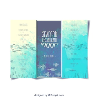 Menu de restaurante de comida del mar