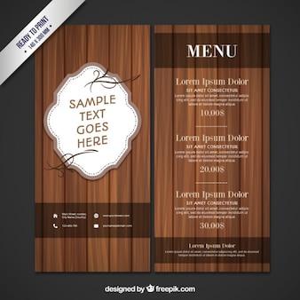 Menú de restaurante de madera