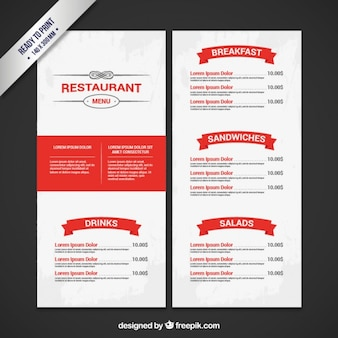 Menú de restaurante en colores blanco y rojo