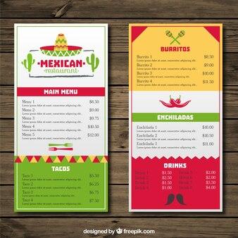 Menú de restaurante mexicano con colores  y sombrero mexicano