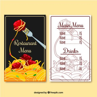 Menú de restaurante, pasta
