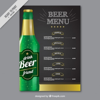 Menú elegante con una botella de cerveza