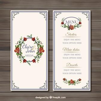 menú matrimonio floral
