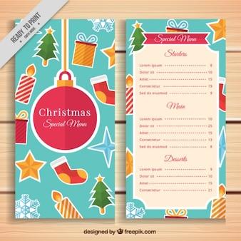 Menú navideño con elementos típicos
