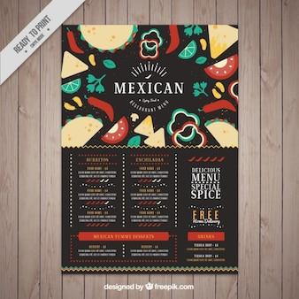 Menú oscuro de restaurante mexicano con comida en diseño plano