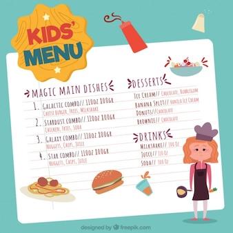 Menú para niños dibujado a mano con joven chef