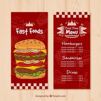Menú rojo de comida rápida