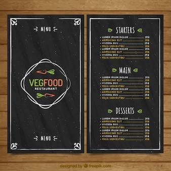 Menú vintage de comida vegana dibujada a mano en estilo pizarra