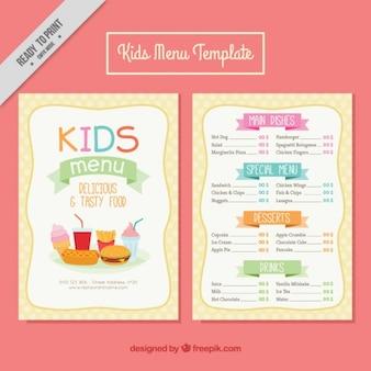 Menús de niños con comida deliciosa