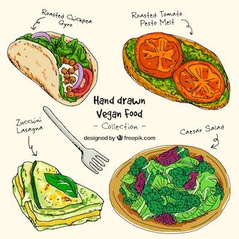 Menús deliciosos veganos dibujados a mano