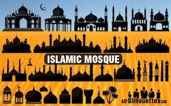 mezquita islámica todas las siluetas