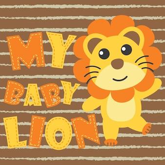 Mi león bebé sobre fondo marrón vector de dibujos animados