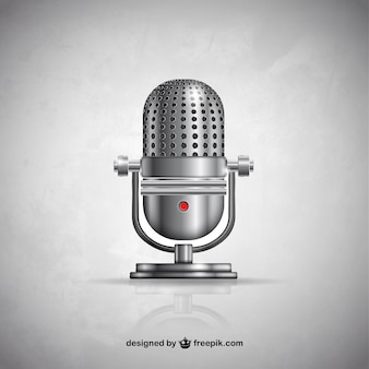 Micrófono metálico en estilo retro